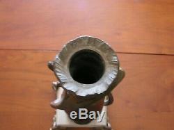 Ancien Vase Soliflore En Regule Bronze Sur Marbre Signe Bonnefond Style Art Deco