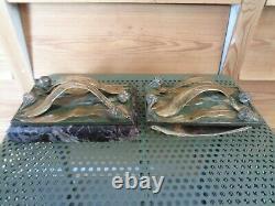Ancien presse papiers buvard en bronze et marbre signé LEROYER