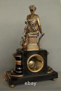 Ancienne Pendule Bronze Signé BOURET Allégorie Agriculture Napoléon Kaminuhr