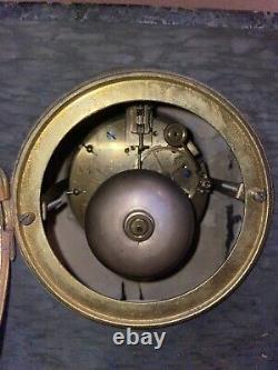 Ancienne Pendule En Marbre Vert De Mer Et Bronze Signée Hennequin