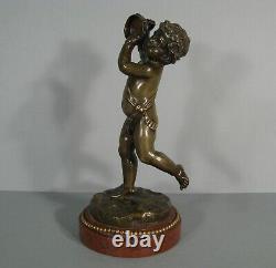 Angelot Cherubin Putto Musicien Tambourin Sculpture Bronze Ancien Signé Clodion