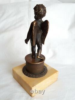 Angelot en Bronze sur Socle en Marbre, Napoléon III, belle Finesse, non signé