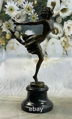 Art Déco Bronze Danseuse, Signée Degas uvre Sur Marbre Base Sculpture uvre