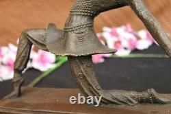 Art Déco Bronze Femme Signé Chiparus Musée Qualité Sur Marbre Base Décoratifs