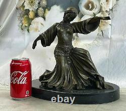 Art Déco Bronze Femme Signé Chiparus Musée Qualité Sur Marbre Base Sculpture