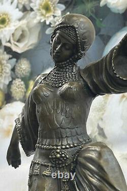 Art Déco Bronze Femme Signée Chiparus Musée Qualité Sur Marbre Base