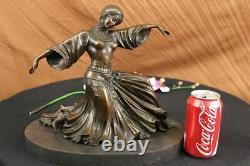 Art Déco Bronze Femme Signée Chiparus Musée Qualité Sur Marbre Base Figurine