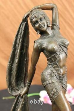 Art Déco Bronze Femme Signée Chiparus Musée Qualité Sur Marbre Figurine Base Lrg