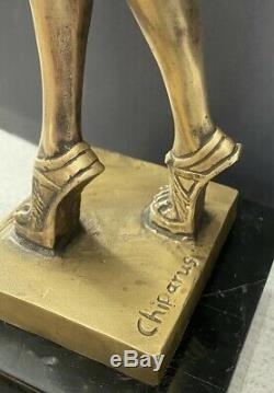 Art Déco Bronzesfigur -tänzerin Signé Chiparus sur Base en Marbre -nachguss