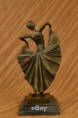 Art Déco Fans Danseuse Danseur Signé Bronze Art Marbre Sculpture