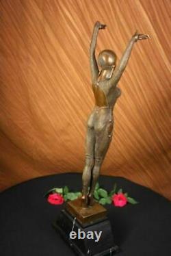 Art Déco Signé Chiparus Dancer Bronze Sculpture Marbre Base Statue Figurine Art