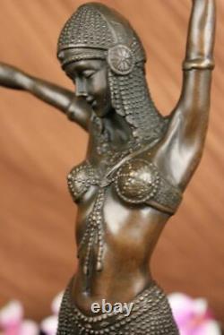 Art Déco Signé Danseur Danseuse Bronze Sculpture Marbre Statue Figurine