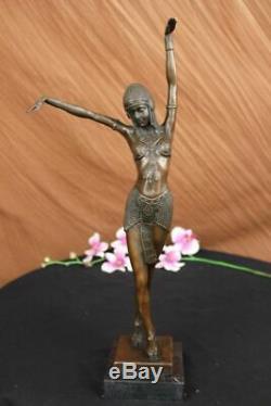 Art Déco Signé Danseur Danseuse Bronze Sculpture Marbre Statue Figurine Figurine