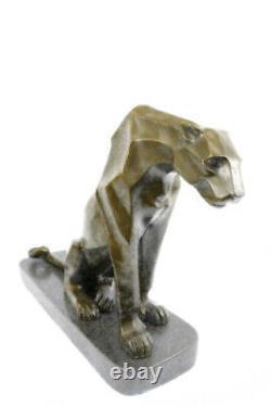 Art Déco Statue Bronze Panther Montage Sur Un Noir Marbre Base Signé H. Moore