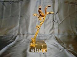 Art déco, Rischmann, Bronze au Décor écureuil sur socle en Marbre, Signé