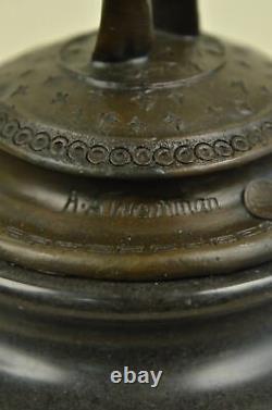 Artisanal Bronze Sculpture Solde Marbre Weinman Par Signé Ange Femme Chair Décor
