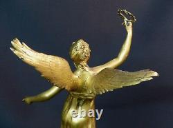 B 1910 belle Sculpture bronze doré P. DUCUING la renommée 42c3.3kg Barbedienne