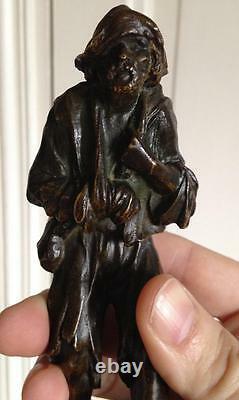 Beau Bronze socle Marbre signé Eugène Baptiste DOUMENC (1873-) Le mendiant
