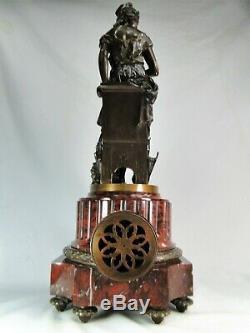Belle Pendule 1900 Marbre Bronze Sculpture Femme Cendrillon Signee Ferville-suan
