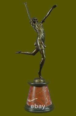 Belle Sculpture À Bronze Doré Sur Socle À Marbre Signé D H Chiparus 61cm Figur