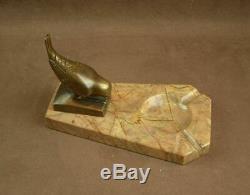 Belle Sculpture Bronze Art Deco Oiseau Signé Sur Socle Vide Poche En Marbre