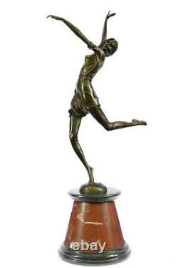 Belle Sculpture En Bronze Doré Sur Socle Marbre Signé Prof Hauteur Chiparus 61cm