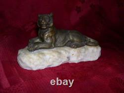 Belle panthére époque art déco en bronze signé MASSON socle marbre