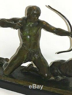 Bronze 19 Eme Signé L. Riche Socle Marbre 1877/1949 Sculpture Homme A La Chasse