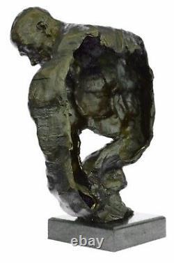 Bronze Abstrait Musculaire Moderne Cadeau Chair Homme Marbre Sculpture Signé Art
