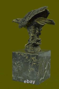 Bronze Aigle Prise Signé Bronze Sculpture Avec Marbre Base Miguel Lopez Solde
