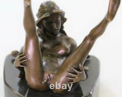 Bronze Art Déco Sculpture Nu Femme Avec / Marbre Base- Signée Nino Oliviono