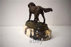 Bronze Chien Faisan Signé DUBUCAND Marbre Chasse Animalier XIX 19th
