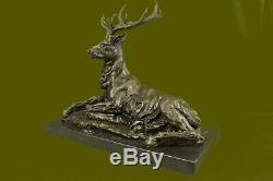 Bronze Enterrement Vie Garçon Sur Marbre Base Statue Signé Milo Estate Chaud