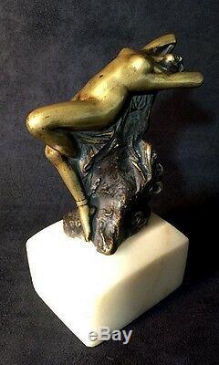 Bronze Femme Nue Signé Zala (zala György) Sur Socle En Marbre De 16cm De Haut