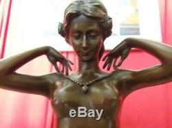 Bronze Femme Style Art Déco Signé Ponsard Socle Marbre Fonte Dédition chiparus