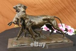 Bronze Massif Fonte Statue Golden Retriever Signé Art Déco Marbre Décor Deal