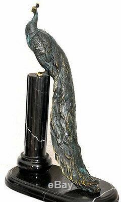 Bronze Paon Signé en Magnifique Bronze Bicolore Patiné sur Socle en Marbre