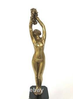 Bronze Par Alfred Jorel Femme 1900 Aux Fleurs Bronze Dore Sur Marbre Noir Z408