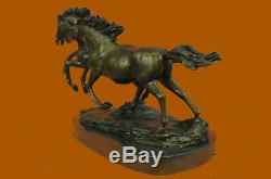Bronze Sauvage Chevaux Marbre Base Signé Statue Sculpture Figurine Chaud Fonte