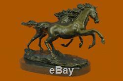 Bronze Sauvage Chevaux Marbre Base Signé Statue Sculpture Figurine Fonte Décor