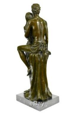 Bronze Sculpture Chair Couple Signée Fonte Marbre Base Figurine Figurine Décor