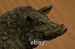 Bronze Sculpture Statue Signé Barye Sanglier Sauvage Animal Mascotte Marbre Base