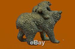 Bronze Sculpture Statue Signé Original Noir Ours Mère Cub Ouest Marbre Art