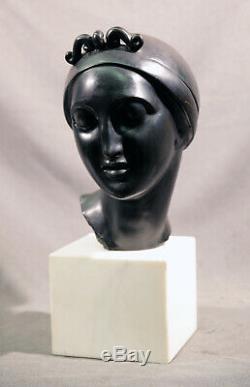 Bronze Sculpture de Femme Buste Elie Nadelman Noir Patiné et Marbre Base