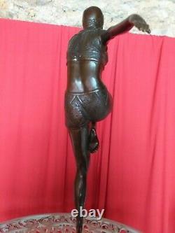 Bronze Signé Danseuse Art Déco Socle Marbre