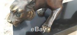 Bronze Signé J. Brault Panthère Sur Socle Marbre 50cm