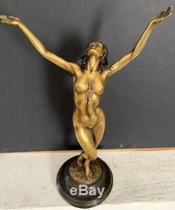 Bronze Statue de Élégant Bronze Nu de Raymondo Signé sur Socle en Marbre
