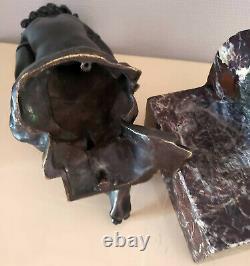 Bronze Sur Marbre Rouge Turquin Enfant Cherubin XIX Signé Monograme P. G