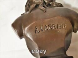 Bronze a patine brune, buste de Flora de A Carrier, sur socle marbre noir
