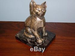 Bronze argenté félin chat sur socle en marbre signé Rischmann Art Déco